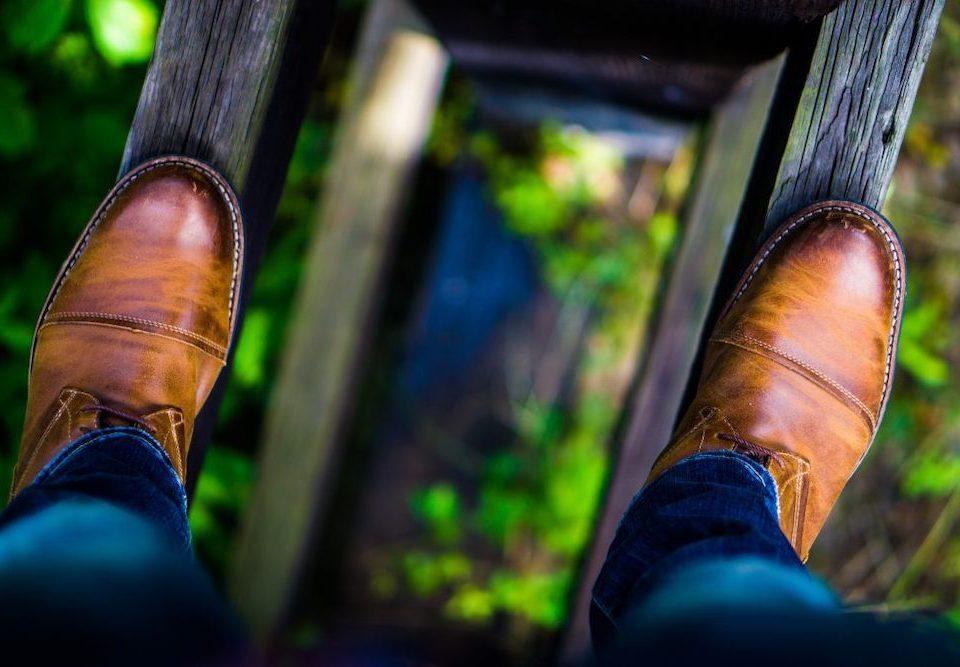 Walking on a high narrow ledge